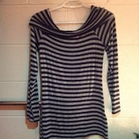 Women's black and gray stripe off the shoulder shirt Fairfax, 22030