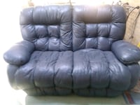 tufted black leather 2 seat sofa both recline