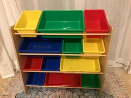 Toy Storage Organizer with 12 Plastic Bins