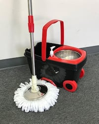 New $25 each Deluxe Spin Mop with Wheels and Extended Handle with 2x Microfiber Mop Heads South El Monte