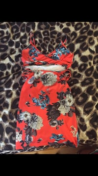 red, blue, and gray floral spaghetti strap mini dress