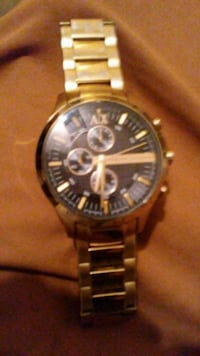 round silver-colored chronograph watch with link bracelet 1178 mi