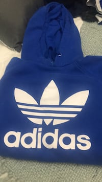 Blue and white adidas pullover hoodie  Toronto, M6H 3T6