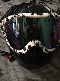 Girls/boys Snowboarding helmet and goggles.