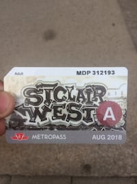 TTC August 2018 Monthly Metropass  Toronto