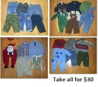 6-12 Mths Baby Boys Clothing Lot 3 (Take 29 Pieces for $30) Mississauga
