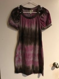 Women's pink and brown wool shoulder cut out dress size small