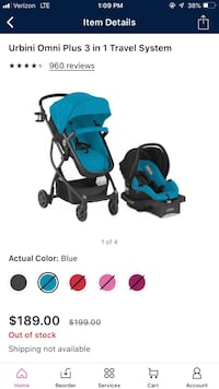 baby's blue and black travel system Tampa, 33607