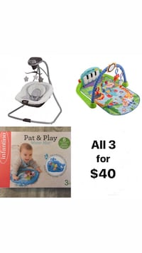 Graco Swing, Fisher Price Kick n Play Gym & Infantino Pat & Play Mat Rancho Cucamonga, 91739