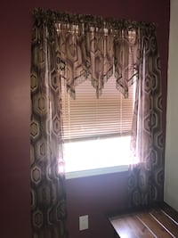 Set of 2 brown pattern curtains $10 for both Selden, 11784
