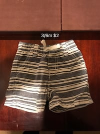 white and black stripe shorts