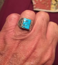 Vintage men's turquoise and silver ring size 11 Spring Hill, 37174