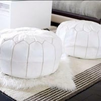 White New Moroccan Ottoman Pouf Genuine Leather Mississauga, L5B 4G7