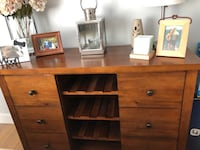 Brown wooden buffet table with shelves, wine rack and drawers Ridgefield, 06877
