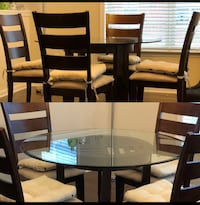 round clear glass-top table with chairs WASHINGTON