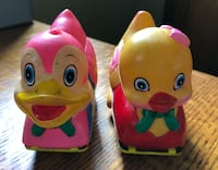 Vintage/antique Easter Ducks Friction toys with wheels 1950's-1960's