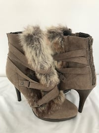 Size 7 Grey faux fur, strappy, ankle high heel booties Toronto