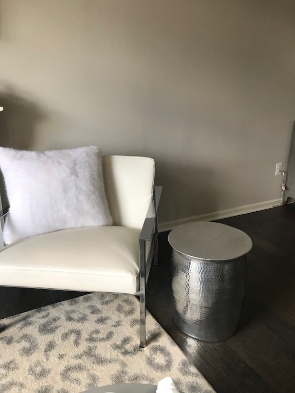 Silver hammered metal side tables (2)