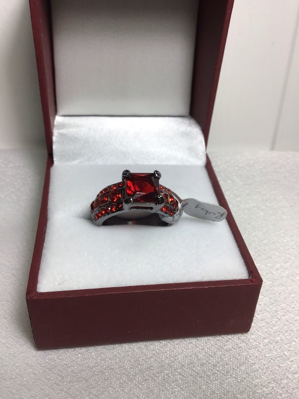 New Size 7 1/4 , Ruby Zirconia, 10K Gold Filled