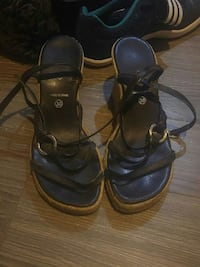 women's pair of black-and-beige strappy sandals Calgary, T2K
