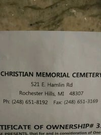 Christian memorial cem 2 caskets 2 vaults 1 bronze