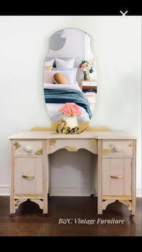 White wooden vanity table with mirror Markham, L3P 0R6