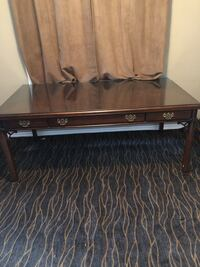 Solid wood desk/table with custom glass top asking $100  must go before Saturday Barrie, L4M 6X5