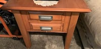 brown wooden 2-drawer chest