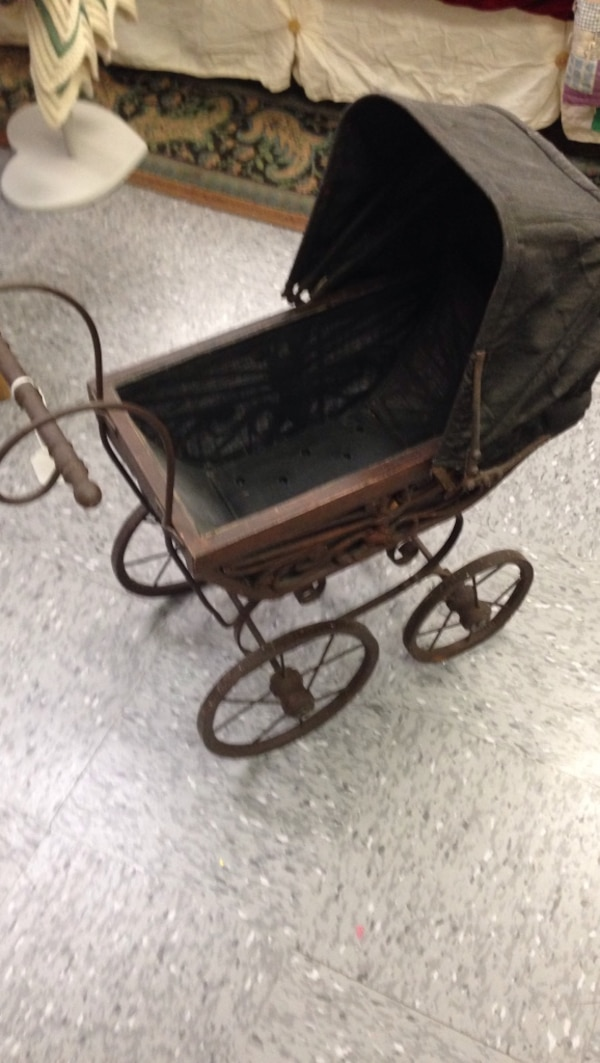 Vintage Brown Wooden Pram Stroller