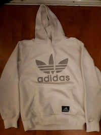 white and gray Adidas pullover hoodie Surrey, V3R
