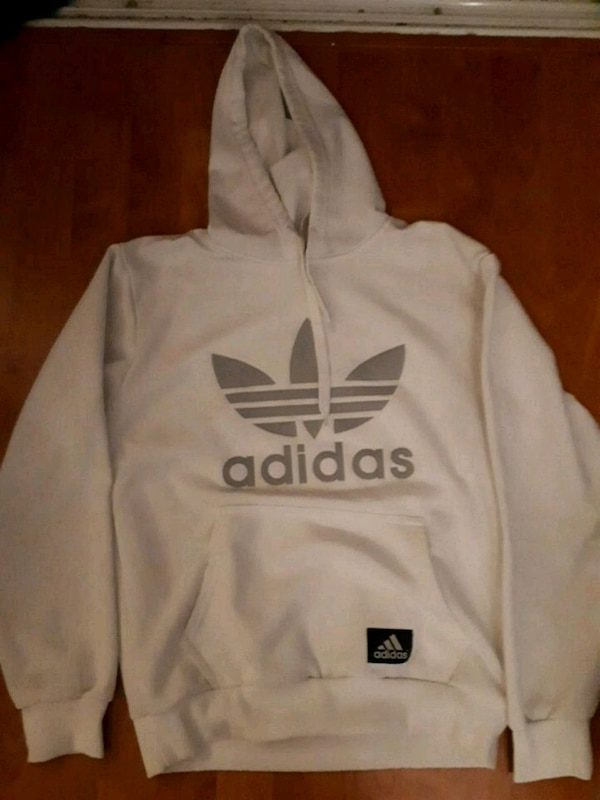 white and gray Adidas pullover hoodie