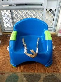 blue and green plastic chair