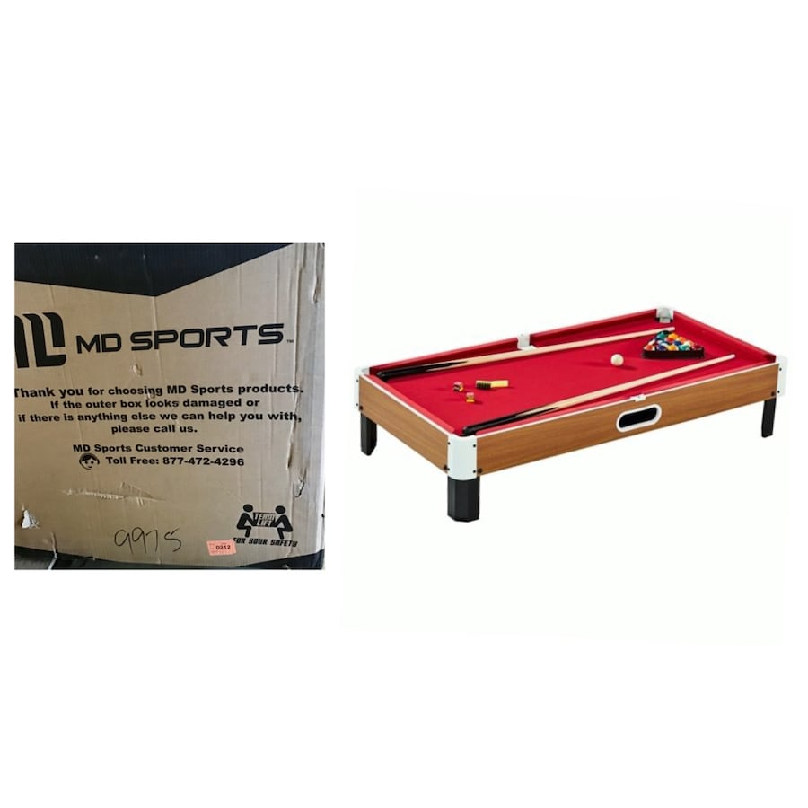 MD Sports Largest 48 Inch Tabletop Billiard Pool Table, 4ft. Burgundy
