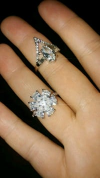 New silver overlay cz crystal flower cocktail ring Montreal, H8T