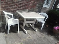 rectangular white wooden table with two chairs Poughkeepsie, 12603