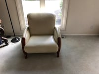brown wooden framed white leather padded armchair Highland Hills, 44122