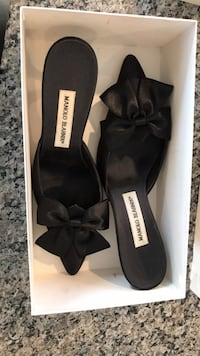 pair of black leather open toe heels in box Des Moines, 50309