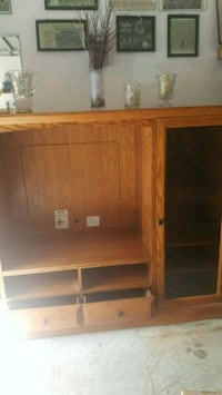 brown wooden TV hutch with cabinet East Gwillimbury, L0G 1R0