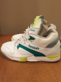 White-and-green reebok pump tennis shoes