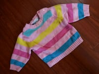 toddler's pink and green striped sweater 2206 mi