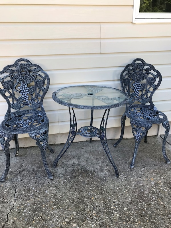 Galvanized Bistro Patio Table W Two Chairs