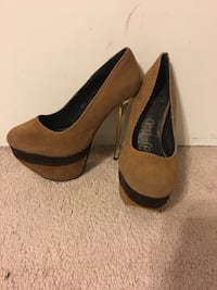 pair of brown suede platform stilettos 954 mi