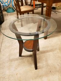 Glass coffee table set, one end table