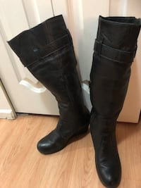 pair of black leather knee-high boots Vancouver, V5V