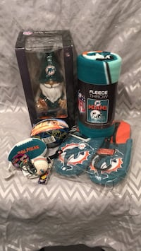 Miami Dolphins gift set, Included large men's slippers, fleece throw, gnome, bean bag ball that makes sounds, helmet clip and XLVIII Super Bowl ball South River, 08882