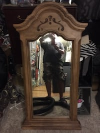 brown wooden framed mirror with mirror HOUMA