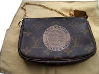 Authentic Louis Vuitton Pochette Trunks & Bags Limited Edition Monogram Mini Brown Canvas Wristlet Surrey