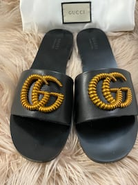 Gucci GG Leather Sandals size 9.5/10 Silver Spring, 20904