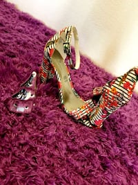 pair of women's red platform stilettos 32 km