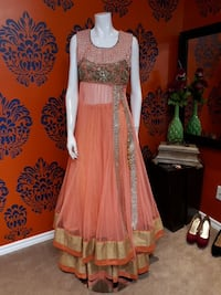 orange and brown floral scoop-neck sleeveless maxi dress 3129 km